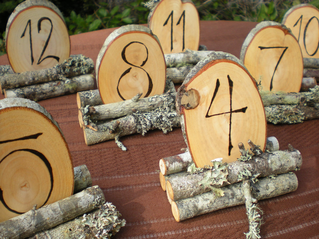 Rustic wooden wedding reception table numbers