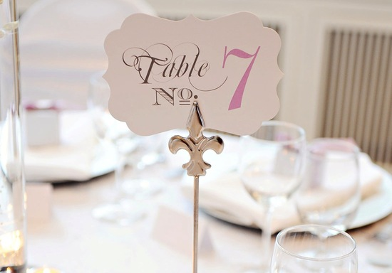 Chic white black pink wedding table numbers