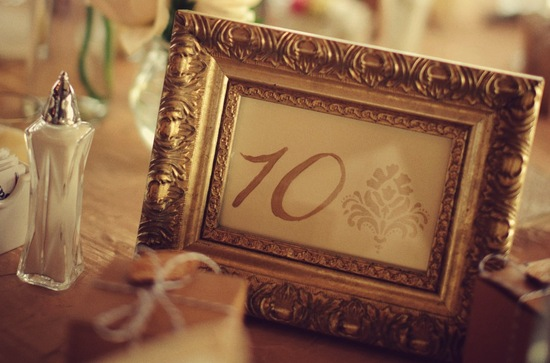 Elegantly framed wedding table numbers