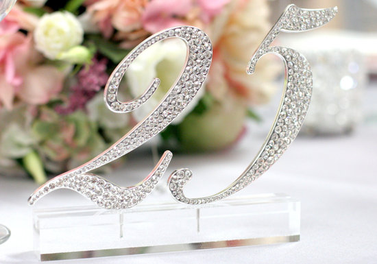 Rhinestone wedding table numbers