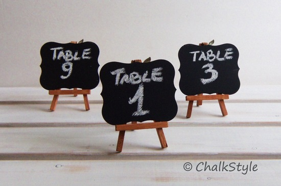 Mini chalkboard easles for wedding table numbers