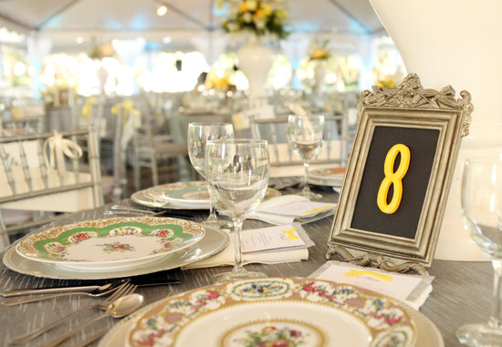 Framed chalkboard wedding table number