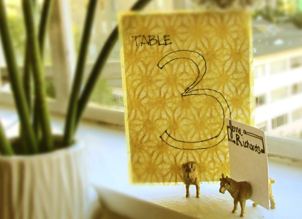 Vintage yellow wedding table numbers