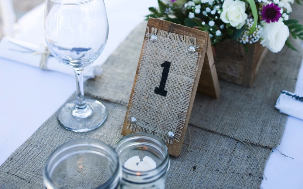 Rustic wood and burlap wedding table numbers