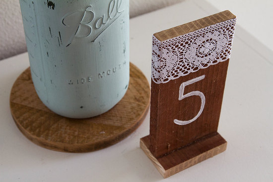 lace and wood wedding table numbers