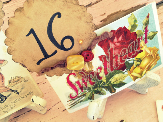 Vintage postcard wedding table numbers