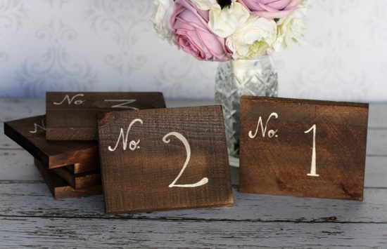 Vintage rustic wood wedding table cards