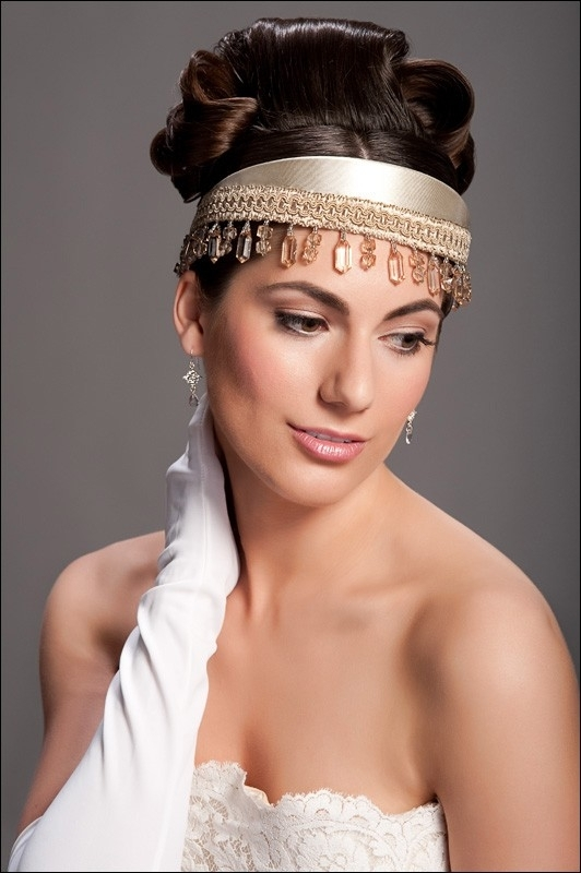 Beautiful champagne colored fabric tiara with cyrstals hanging