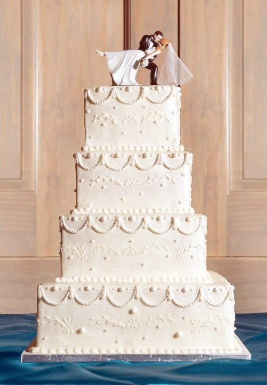 Cute White Wedding Cake with Topper