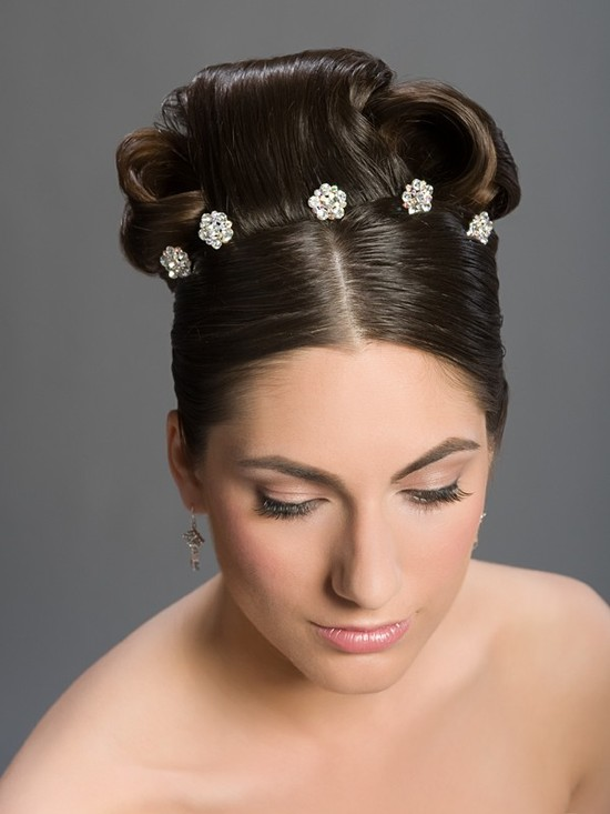 Stick pin hair jewels shaped like flowers- perfect detail for wedding day hairstyle