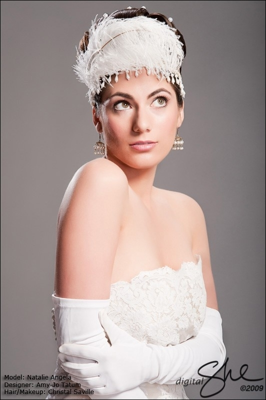 Amy-Jo Tatum Headpieces on Etsy- white feather tiara with pearls hanging down