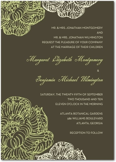 Wedding invitation with dark grey background and lime green and white details