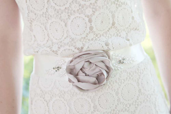 Ivory and lilac beaded bridal belt