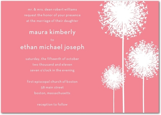 Wedding invitation with rosy, blush pink background and white accents