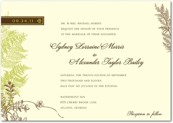 Ivory wedding invitation with grey, brown and green accents