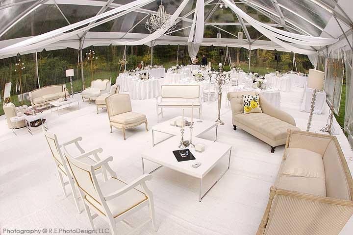 Stark White Wedding Reception Under Tent, White And Ivory