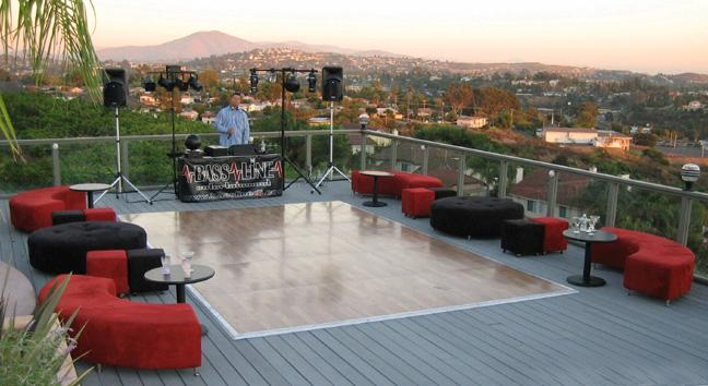 Outdoor Wedding On Deck With Dance Floor And Red And