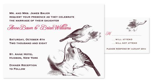 White wedding invitation with black, grey, red writing; bird motif