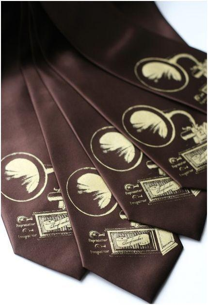 Chocolate brown ties with ivory, hand-screened design of antique music player
