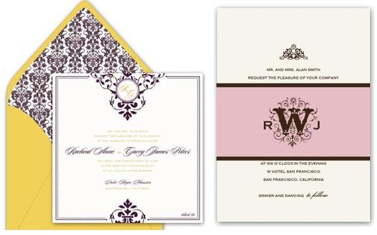 Gorgeous gold and purple letterpress wedding invitations; chocolate brown and petal pink monogram le