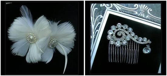 Vintage-inspired hair accessories- white feather and pearls, and rhineston hair comb