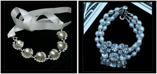 Bracelets with pearls and rhinestones- perfect accent with vintage wedding dress