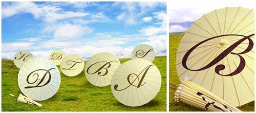 Personalized-ivory-colored-parasols-monogram-initials-in-chocolate-brown-on-top-1.full