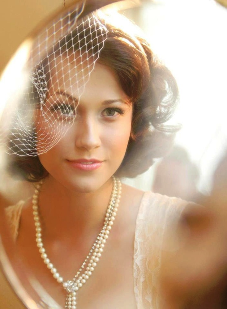 Fishnet birdcage wedding veil