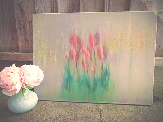 Pastel tulips watercolor painting