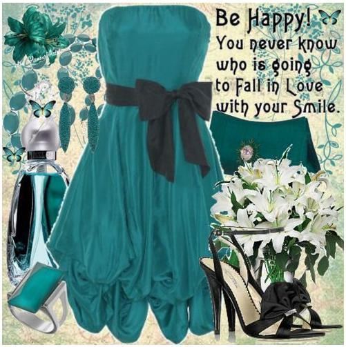photo of Teal and black, a sophisticated combination.  Teal strapless dress with black bow