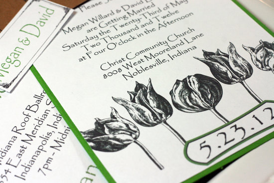 Engraved tulip wedding invitations