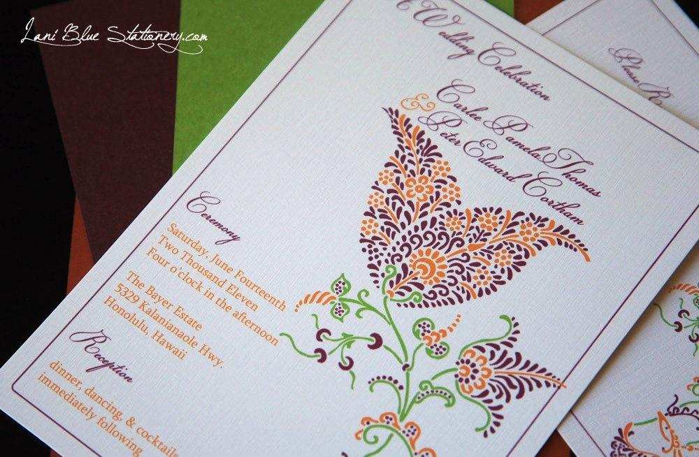Henna tulip wedding invitation OneWedcom