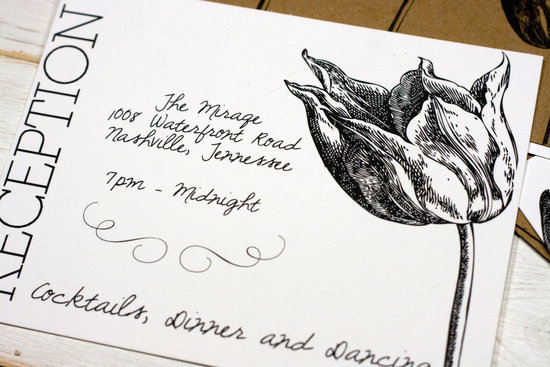 Modern tulip wedding reception card