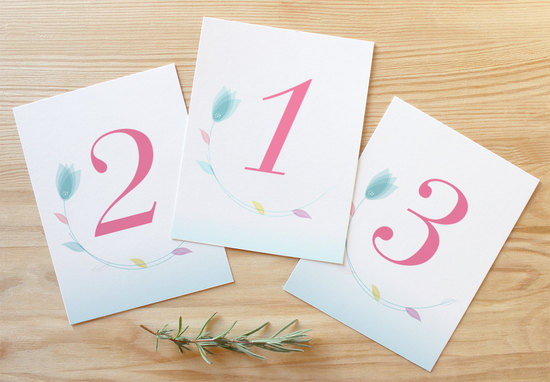 Spring wedding table numbers pastel tulips