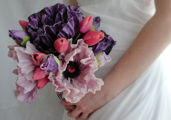 Fabric flower bridal bouquet pink purple romantic