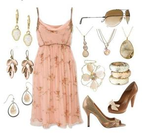 photo of Pink floral dress with brown subtle design; stone and opal jewelry; brown and gold heels