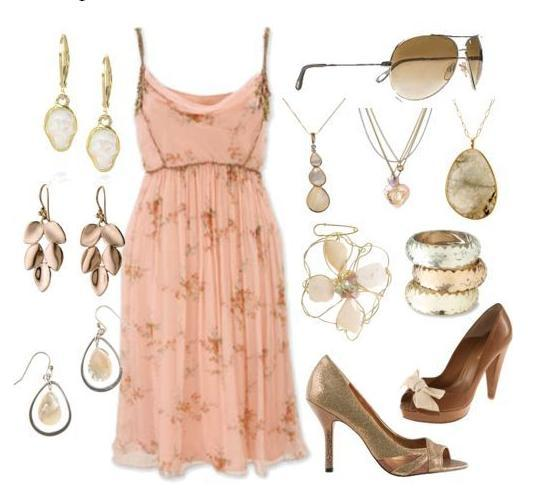 Pink floral dress with brown subtle design; stone and opal jewelry; brown and gold heels