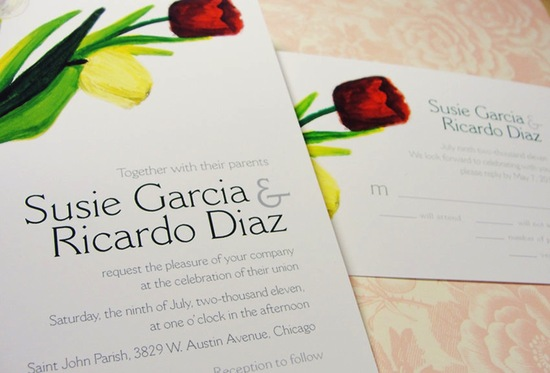 Watercolor spring wedding invitations with tulip design