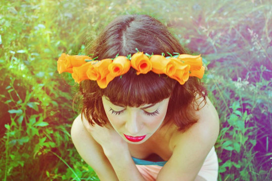 Orange tulip crown for bridesmaids