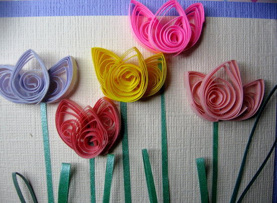 Handmade tulips for wedding backdrop