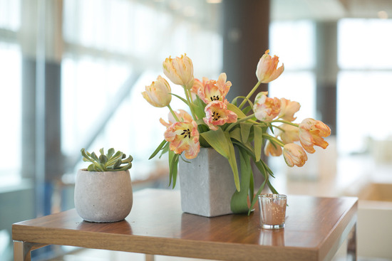 Simple romantic tulip wedding centerpiece