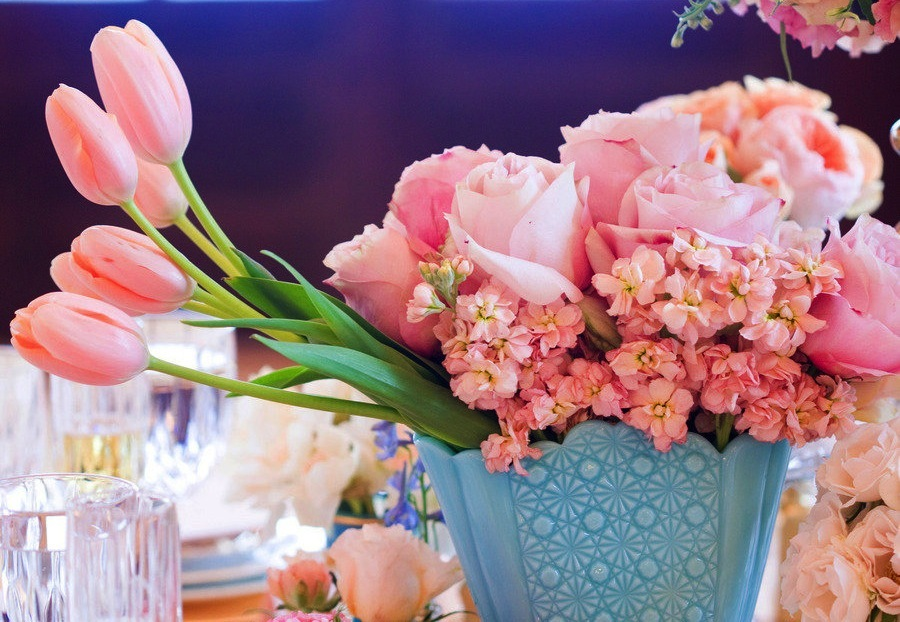 Romantic pink wedding centerpiece with tulips