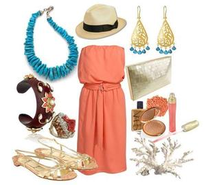 photo of Turquoise, coral and gold are perfect colors for beach or destination wedding