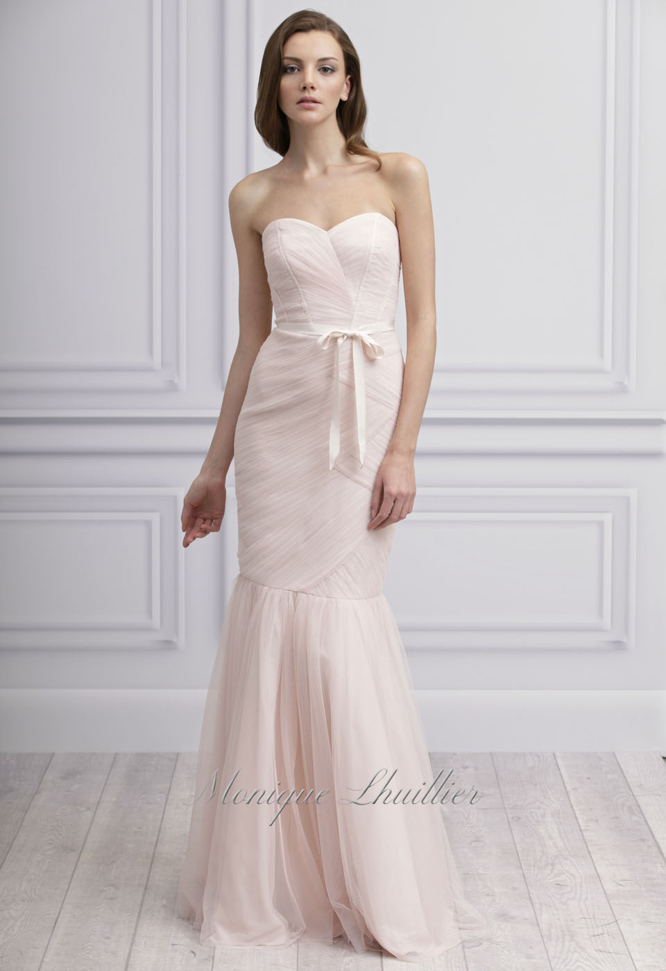 Light pink monique lhuillier bridesmaid dress for Wedding dress with lights