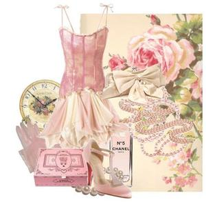 photo of Corset pink dress with ivory accessories- perfect for summer cocktail party wedding