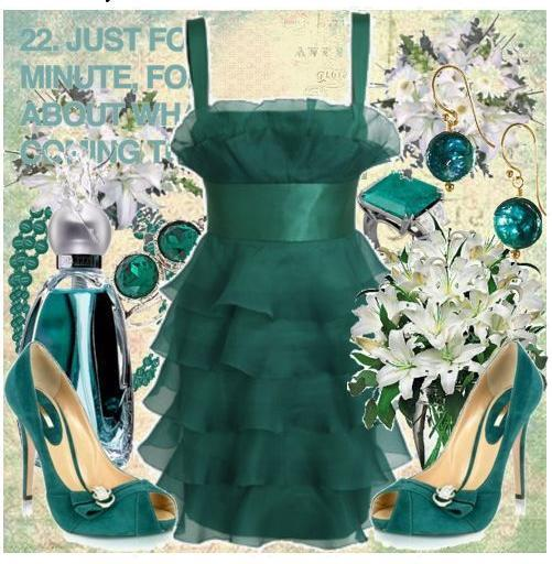 Wear shades of jade to an Autumn evening wedding