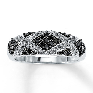 Kay Jewelers Black Diamond Ring 1/3 ct tw Round-Cut  10K White Gold- Fashion Rings