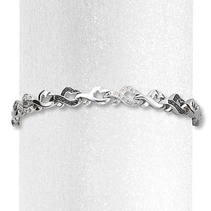 photo of Kay Jewelers Diamond Heart Bracelet 1/4 ct tw Round-cut Sterling Silver- Bracelets