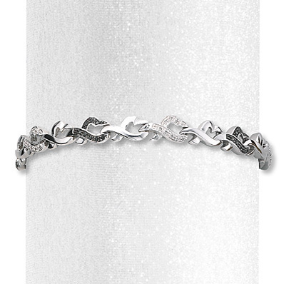 Kay Jewelers Diamond Heart Bracelet 1/4 ct tw Round-cut Sterling Silver- Bracelets