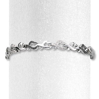 photo of Kay Jewelers Diamond Heart Bracelet 1/4 ct tw Round-cut Sterling Silver- Bracelets
